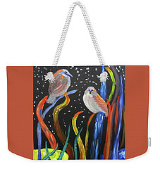 Weekender Tote Bag featuring the painting Sparrows Inspired By Chihuly by Linda Feinberg