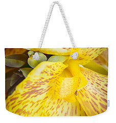 Weekender Tote Bag featuring the photograph Speckled Canna by Christi Kraft