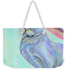 Sphinx In Pink Hat Weekender Tote Bag by Jane Schnetlage