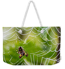 Spider And Spider Web With Dew Drops 05 Weekender Tote Bag