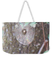 Weekender Tote Bag featuring the photograph Spider In The Round by Marie Neder