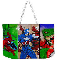 Weekender Tote Bag featuring the drawing Spider-man Collage  by Justin Moore