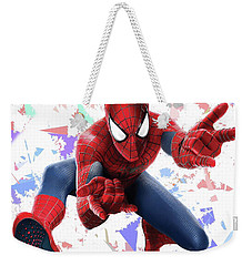 Weekender Tote Bag featuring the mixed media Spider Man Splash Super Hero Series by Movie Poster Prints