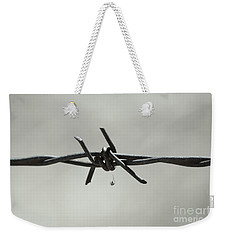 Spider On Barbed Wire In Black And White Weekender Tote Bag