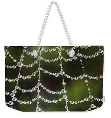Spider Web Decorated By Morning Fog Weekender Tote Bag by William Lee