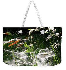 Spiderweb Over Rose Plants Weekender Tote Bag