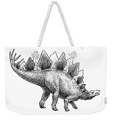 Spike The Stegosaurus - Black And White Dinosaur Drawing Weekender Tote Bag