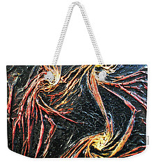 Weekender Tote Bag featuring the mixed media Spinning by Angela Stout