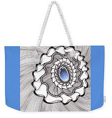 Weekender Tote Bag featuring the drawing Spinning Gemstone Flower by Jan Steinle
