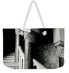 Weekender Tote Bag featuring the mixed media Spiral Stairs- Black And White Photo By Linda Woods by Linda Woods