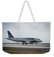 Weekender Tote Bag featuring the photograph Spirit Airlines A319 Airbus N523nk Airplane Art by Reid Callaway