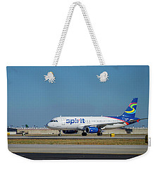 Weekender Tote Bag featuring the photograph Spirit Airlines Airbus A320 N608nk Airplane Art by Reid Callaway