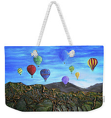 Weekender Tote Bag featuring the mixed media Spirit Of Boise by Angela Stout
