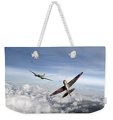 Weekender Tote Bag featuring the photograph Spitfire Attacking Heinkel Bomber by Gary Eason