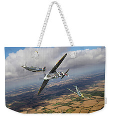 Weekender Tote Bag featuring the photograph Spitfire Tr 9 Fighter Affiliation by Gary Eason