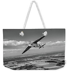 Weekender Tote Bag featuring the photograph Spitfire Tr 9 On A Roll Bw Version by Gary Eason
