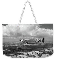 Weekender Tote Bag featuring the photograph Spitfire Tr 9 Sm520 Bw Version by Gary Eason