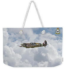 Weekender Tote Bag featuring the digital art  Spitfire - Us Eagle Squadron by Pat Speirs