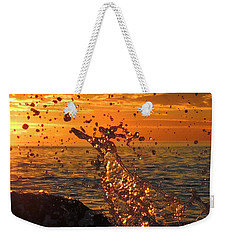 Weekender Tote Bag featuring the photograph Splash by Linda Hollis