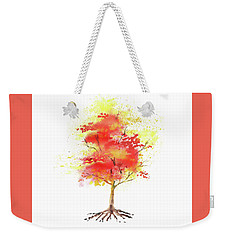 Weekender Tote Bag featuring the painting Splash Of Autumn Watercolor Tree by Irina Sztukowski