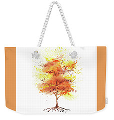 Weekender Tote Bag featuring the painting Splash Of Fall Watercolor Tree by Irina Sztukowski
