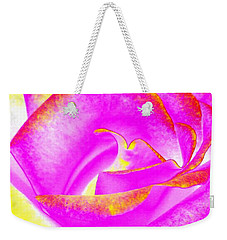 Weekender Tote Bag featuring the mixed media Splendid Rose Abstract by Will Borden