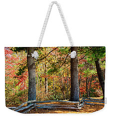 Split Rail Fence And Autumn Leaves Weekender Tote Bag