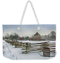 Split Rail Fence In Front Of Colonial Williamsburg Magazine Weekender Tote Bag