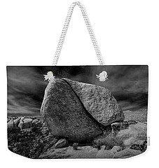 Weekender Tote Bag featuring the photograph Split Rock In Black And White At Joshua Tree National Park by Randall Nyhof