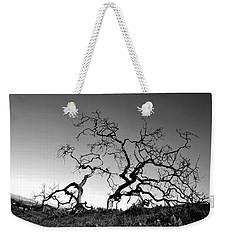 Split Single Tree On Hillside - Black And White Weekender Tote Bag