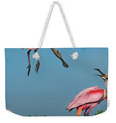 Spoonbills Greeting Weekender Tote Bag by Tim Fitzharris