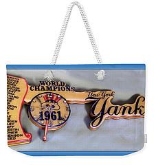 Sports Baseball 1961 Ny World Champions Clock Weekender Tote Bag by Thomas Woolworth
