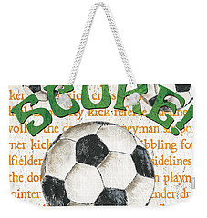 Sports Fan Soccer Weekender Tote Bag by Debbie DeWitt