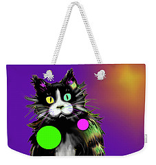 Weekender Tote Bag featuring the painting Spot Dizzycat by DC Langer