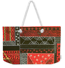 Weekender Tote Bag featuring the mixed media Spotaneous Red by Riana Van Staden