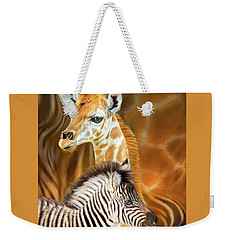 Weekender Tote Bag featuring the mixed media Spots And Stripes - Giraffe And Zebra by Carol Cavalaris