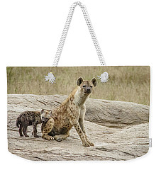 Weekender Tote Bag featuring the photograph Spotted Hyena And Loving Cub by Janis Knight