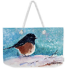 Spotted Towhee All Puffed Up Weekender Tote Bag