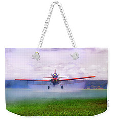 Weekender Tote Bag featuring the photograph Spraying The Fields - Crop Duster - Aviation by Jason Politte