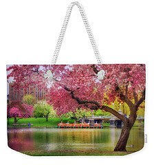 Weekender Tote Bag featuring the photograph Spring Afternoon In The Boston Public Garden - Boston Swan Boats by Joann Vitali
