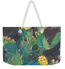 Weekender Tote Bag featuring the painting Spring And Prickly Burst Cactus by Diane McClary