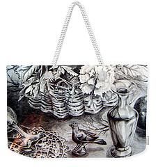 Weekender Tote Bag featuring the drawing Spring Arrangemnt by Linda Shackelford