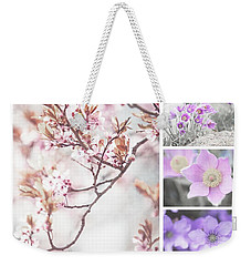 Weekender Tote Bag featuring the photograph Spring Bloom Collage 1. Shabby Chic Collection by Jenny Rainbow
