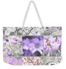 Weekender Tote Bag featuring the photograph Spring Bloom Collage. Shabby Chic Collection by Jenny Rainbow
