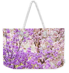 Weekender Tote Bag featuring the photograph Spring Bloom Of Rhododendron  by Jenny Rainbow