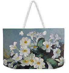Weekender Tote Bag featuring the painting Spring Blooms by Elena Oleniuc