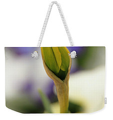 Weekender Tote Bag featuring the photograph Spring Blooms In The Snow by Chris Berry