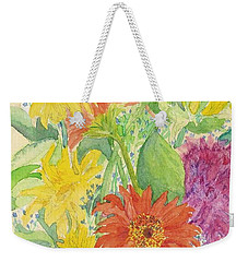 Weekender Tote Bag featuring the painting Spring Bouquet  by Vicki  Housel