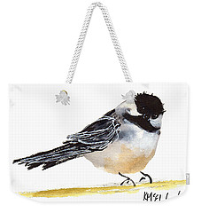 My Little Chickadee Bird Art Watercolor And Gouache And Ink Painting By Kmcelwaine Weekender Tote Bag