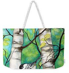 Spring Chickadees Weekender Tote Bag by Inese Poga
